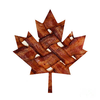 Photograph - Canadian Bacon Lovers - Maple Leaf - Hickory Smoked - Meat - Pork - Breakfast by Andee Design