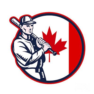 Canadian Sports Digital Art - Canadian Baseball Batter Canada Flag Circle by Aloysius Patrimonio