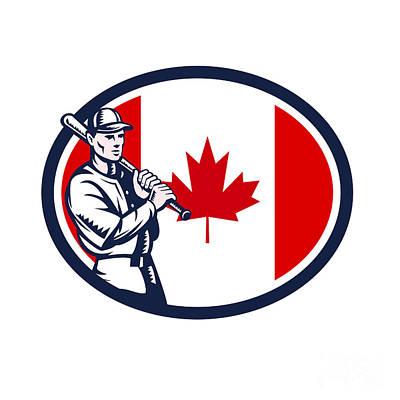 Canadian Sports Digital Art - Canadian Baseball Batter Canada Flag Retro by Aloysius Patrimonio