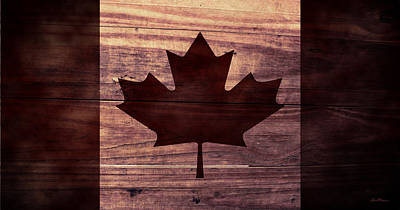 Aged Wood Digital Art - Canadian Flag I by April Moen