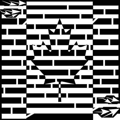 Drawing - Canadian Flag Maze  by Yonatan Frimer Maze Artist