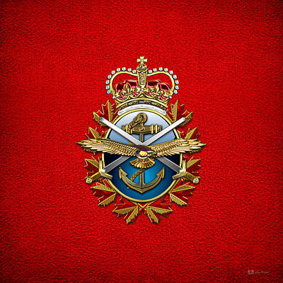 Digital Art - Canadian Forces Emblem On Red Leather by Serge Averbukh