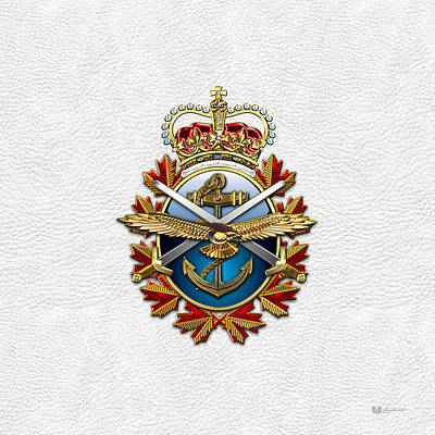 Digital Art - Canadian Forces Emblem On White Leather by Serge Averbukh