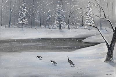 Canadian Geese In Winter Art Print by Brandon Hebb