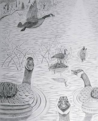 Waterfowl Drawing - Canadian Greetings by Gerald Strine