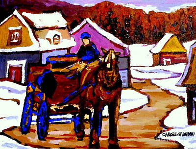 Caleche Painting - Canadian Landscape Paintings Quebec Village Scenes Horse Sled And Rider Quebec Paintings C Spandau by Carole Spandau