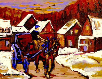 Painting - Canadian Landscape Paintings Red Sled Rider Leaving The Village Quebec Winter Painting Cspandau  by Carole Spandau