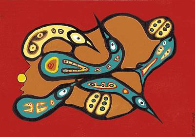 Painting - Canadian Loons In The Style Of Bruce Morrisseau by Veronica Rickard
