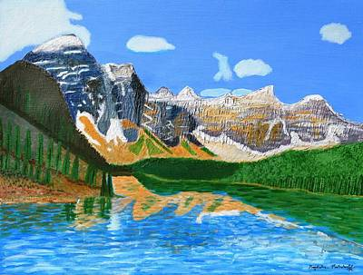Art Print featuring the painting Canadian Mountains And Lake  by Magdalena Frohnsdorff