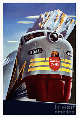 Pacific Drawing - Canadian Pacific Travel Poster by Jon Neidert