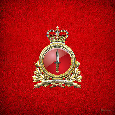 Digital Art - Canadian Special Operations Forces Command - Cansofcom Badge On Red Leather by Serge Averbukh