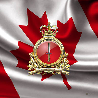 Digital Art - Canadian Special Operations Forces Command - Cansofcom Badge Over Waving Flag by Serge Averbukh