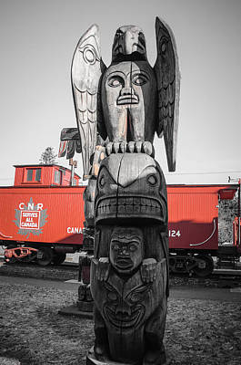 Photograph - Canadian Totem And Railway by Roxy Hurtubise