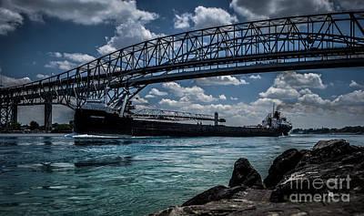 Photograph - Canadian Tranfer Under Blue Water Bridges by Ronald Grogan