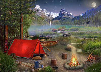 Drawing - Canadian Wilderness Trip by David M ( Maclean )