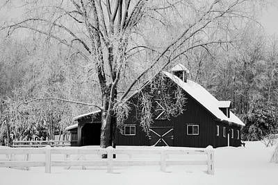 Barns In Snow Photograph - Canadian Winter On A Farm  Ville De Lac by David Chapman