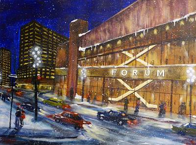 Winter Night Painting - Canadiens Hockey At Montreal Forum by Brent Arlitt