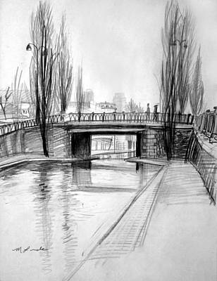 Canal Bridge In Paris Original