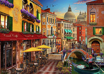 Drawing - Canal Caffe Venice by David M ( Maclean )