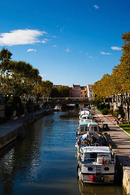 Canal De La Robine By The Cours Art Print by Panoramic Images