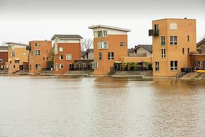 Canal Front Houses In Heerhugowaard Print by Ashley Cooper