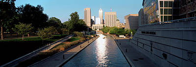 Canal In A City, Indianapolis Canal Art Print