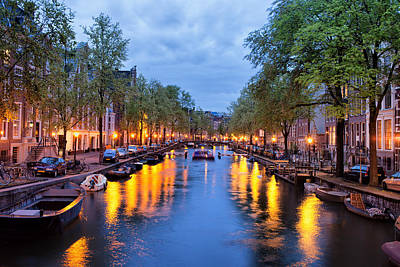 Canal In Amsterdam At Dusk Art Print