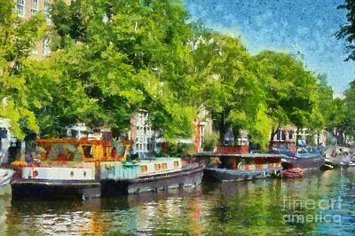 Painting - Canal In Amsterdam by George Atsametakis