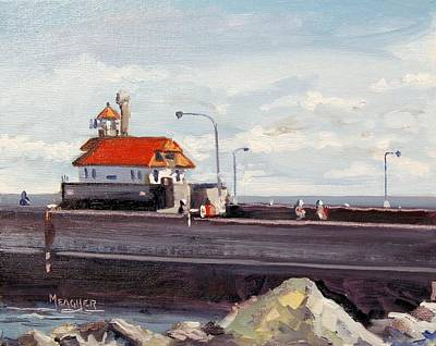 Duluth Painting - Canal Park Lighthouse Duluth by Spencer Meagher