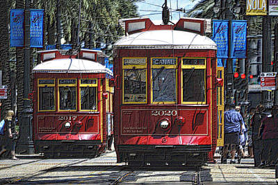 Photograph - Canal St Cable Cars by Nadalyn Larsen