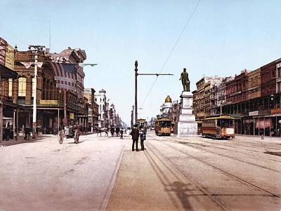 Horse And Buggy Digital Art - Canal Street New Orleans 1900 by Unknown