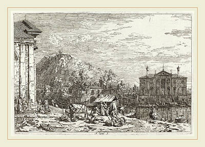 Canaletto Italian, 1697-1768, The Market At Dolo Lower Left Art Print by Litz Collection