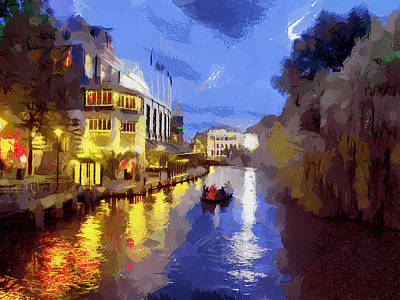 Painting - Water Canals Of Amsterdam by Georgi Dimitrov