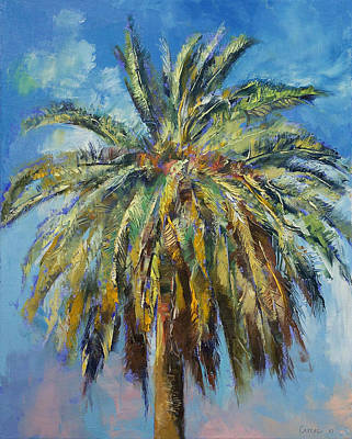 Tree Oil Painting - Canary Island Date Palm by Michael Creese