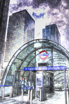 London Tube Digital Art - Canary Wharf Station Art by David Pyatt