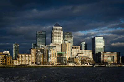 Photograph - Canary Wharf Sunlit From The Thames by Gary Eason