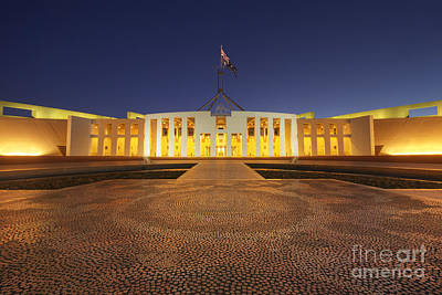 Photograph - Canberra Australia Parliament House Twilight by Colin and Linda McKie