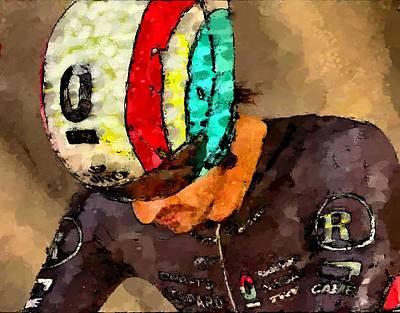 Trial Mixed Media - Cancellara Prepares by Wheely Art