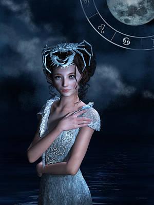 Goddess Mixed Media - Cancer Zodiac Fantasy by Britta Glodde