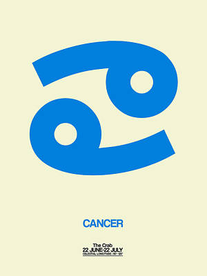 Digital Art - Cancer Zodiac Sign Blue by Naxart Studio