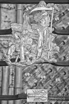Prague Photograph - Cancer Zodiac Sign - St Vitus Cathedral - Prague - Black And White by Ian Monk