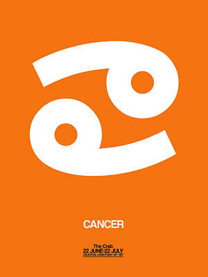 Virgo Digital Art - Cancer Zodiac Sign White On Orange by Naxart Studio