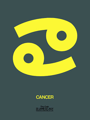 Signed Digital Art - Cancer Zodiac Sign Yellow by Naxart Studio