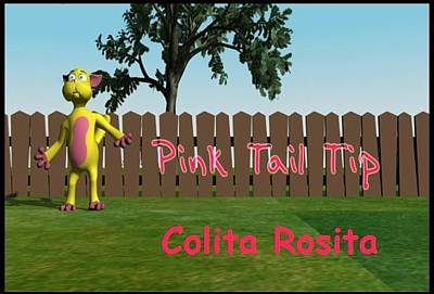 Infantile Digital Art - Canciones Infantiles Colita Rosita Pink Tail Tip by Dzovig