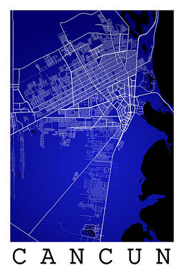 Word Signs - Cancun Street Map - Cancun Mexico Road Map Art on Color by Jurq Studio