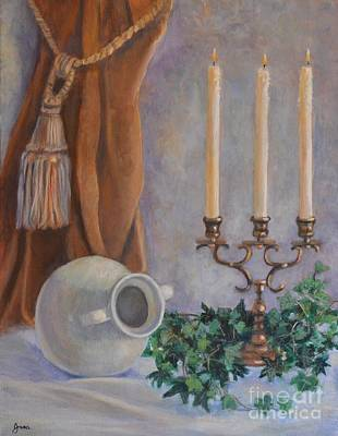 Candelabra With White Vase Original by Jana Baker