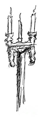 Candle Stand Drawing - Candelabrum Sketch by J M Lister