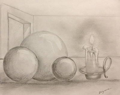 Candle And Balls Art Print