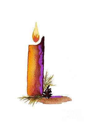 Candle And Pine Cone Original by Nan Wright