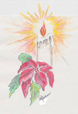 Painting - Candle And Poinsettia by Dale Jackson